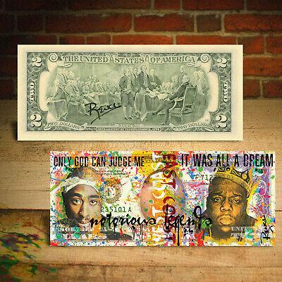 TUPAC SHAKUR /& BIGGIE SMALLS Genuine $2 US Bill Hip Hop Art HAND-SIGNED by Rency