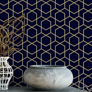 Navy And Gold Hexagon Removable Wallpaper Geometric