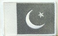 Pakistan Flag Iron-on Patch Pakistani White & Gray Version 08
