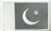 Pakistan Flag Iron-on Patch Pakistani White & Gray Version 08