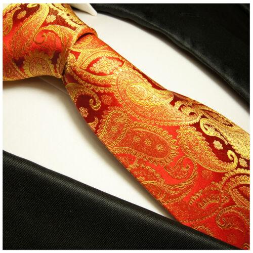 Paul Malone Cravate Rouge Or Paisley Soie-Rouge en Soie Cravate 695
