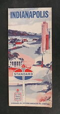1962 Indianapolis steet  map Standard  gas oil regional roads early interstate