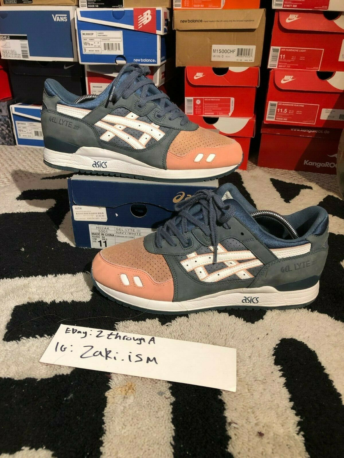 Asics x kith ronnie fieg gel lyte iii Salmon toe size 11 OG all