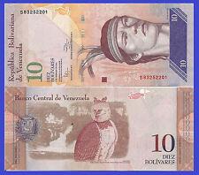Venezuela P90c, 10 Bolivar, Cacique Guaicapuro / harpy eagle, 2011, $6 CV UNC