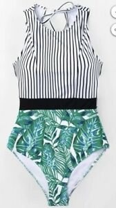61c66f02ca3 Image is loading Cupshe-striped-and-leafy-one-piece-swimsuit-small