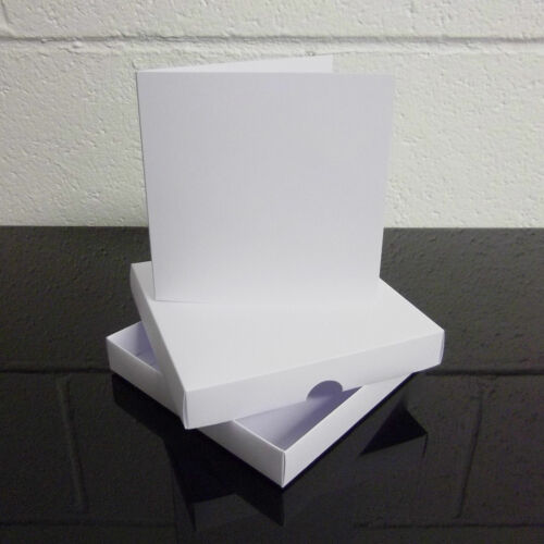"5/"" x 5/"" White Greeting Card Box Wedding Invite Box With Card Blanks Choose Qty"