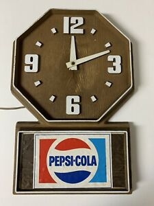 VTG-Pepsi-Cola-Clock-Sign-Diner-Style-Plastic-Faux-Wood