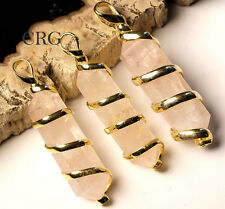 """BEST  Double Term Rose Quartz Pendant In Gold Plated Spiral & 18"""" Chain (WA16BT)"""