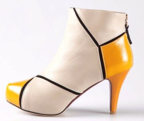 Women Beige 100/% Real Leather Yellow Heeled Ankle Boots Shoes Back Zipped