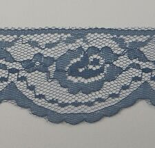 """Flat Lace Scallop Blue NEW 10 Yards 2"""" Wide Rose Trim Craft DIY Sewing Slate"""