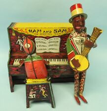 ANTIQUE STRAUSS HAM & SAM MINSTREL TEAM TIN WIND UP BLACK AMERICANA TOY