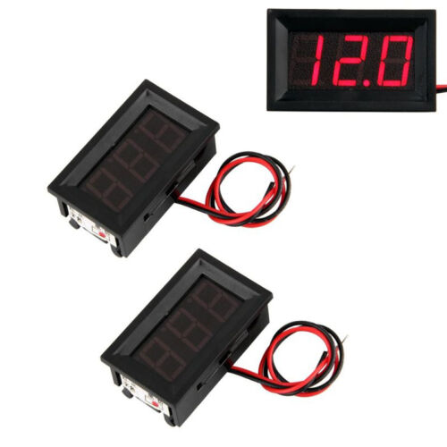 2 Mini Rote LEDs Digitales Voltmeter Panel 4.5-30V GN