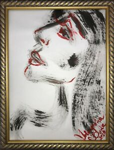 ORIGINAL Margarita Bonke Malerei A3 PAINTING erotic EROTIK FRAU WOMEN akt nu art