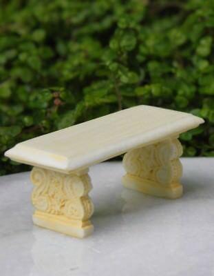 Miniature Dollhouse FAIRY GARDEN Furniture ~ Ivory Victorian Bench ~ NEW