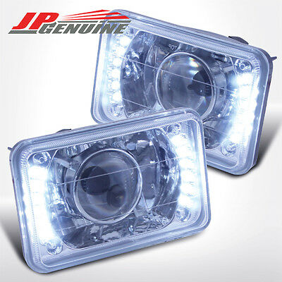 4X6 CHROME HOUSING DIAMOND CUT LED PROJECTOR HEADLIGHTS - CHEVY PICK UP 81-87