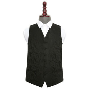 Mens-Wedding-Waistcoat-Woven-Floral-Black-Formal-Casual-Vest-All-Sizes-by-DQT