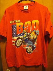 Garfield Odie Large Vintage Born To Be Bad Motrocycle Cat T Shirt Ebay