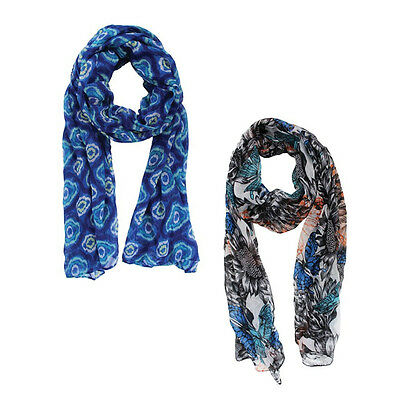 Chatties™ Ladies Sheer Infinity Fashion Scarf - in Black, White & Blue