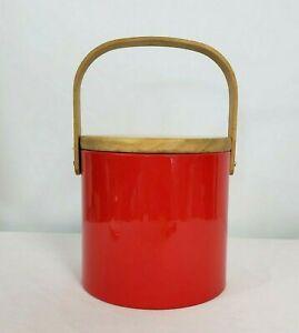 Vintage-Mid-Century-1960s-Georges-Briard-red-Vinyl-Acrylic-Ice-Bucket-Retro-Bar