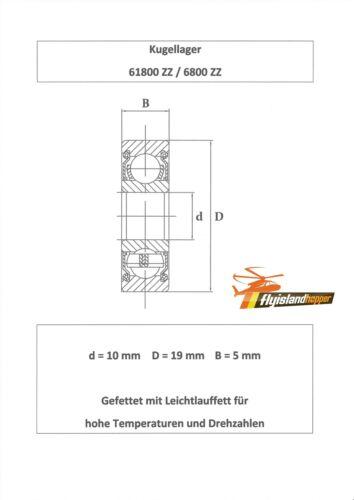 10x Kugellager 61800 ZZ / 6800 ZZ 10x19x5 mm Precision Bearing 10 x 19 x 5 mm