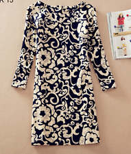 Vintage Style Navy Blue/Cream Dress long sleeves   NEW   Size 12/14