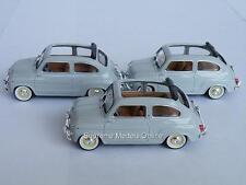 3 X FIAT SEAT 600 CAR GREY OPEN TOP 1/43RD SIZE 2 DOOR OPEN TOP ISSUE K9786Q ~#~