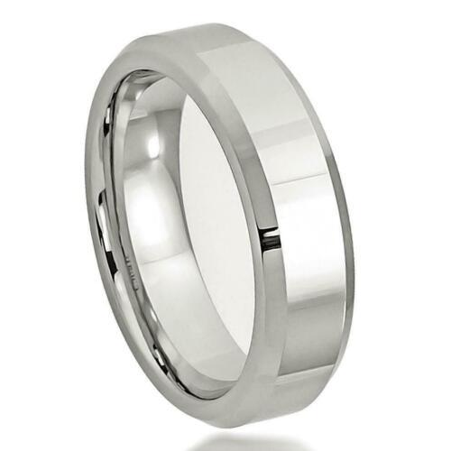 "7mm /""High Polished Beveled Edge/"" Cobalt Wedding Band Ring"