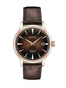 New-Seiko-Presage-Automatic-Sunray-Dial-Leather-Strap-Mens-Watch-SRPB46