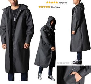 Men/'s Stylish Long Fully length Waterproof  Raincoat with Drawstring Hood,Black