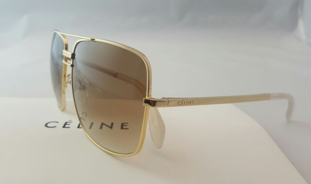 9dfa3cc9c67 CELINE CL 41808 S-J5G XY UNISEX SQUARE NAVIGATOR GOLD SUNGLASSES MADE IN  ITALY