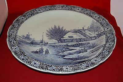 Belgium Boch Delft Large Platter Art Pottery Wall Hanging Blue And White Strengthening Waist And Sinews