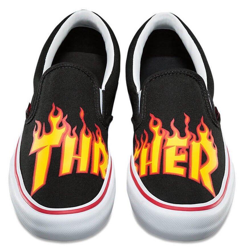 NIB VANS SLIP ON PRO (THRASHER) BLACK FLAME SKATE SHOES RARE LMTD SZ 11.5 MENS
