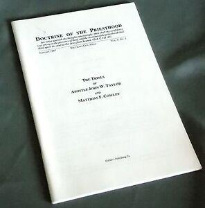 The Trials of Apostle John Taylor Matthias Cowley Doctrine of Priesthood 1987
