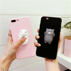 promo code cea4b b888d Details about Cute 3D Kawaii Silicone Cat Kneading Phone Case Cover For  iPhone 7 X 8/8Plus