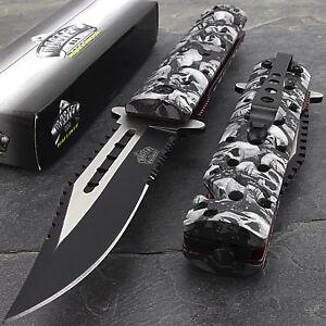 """8.75"""" MASTER USA GREY SKULLS SPRING ASSISTED TACTICAL FOLDING POCKET KNIFE Open"""