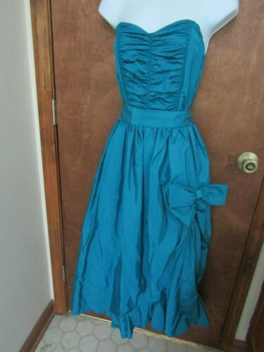 Vtg 80s YOU BABES II Teal Taffeta Strapless Party/
