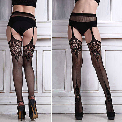 New Sexy Ladies Black Lace Top Thigh-Highs Leggings Stockings Garter Belt Socks
