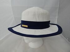 Lauren Ralph Lauren Womens Pony Beachside Bucket Hat White with Navy Trim