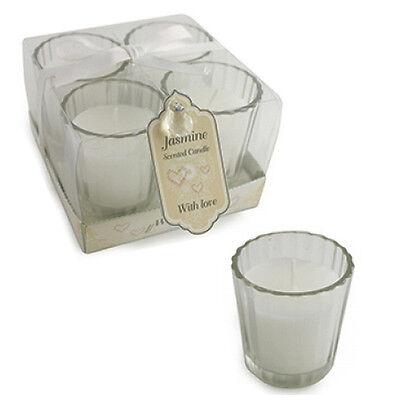SET OF 4 WEDDING CANDLE SET GLASS DECORATION GIFT BOX JASMINE SCENTED FRAGRANCE