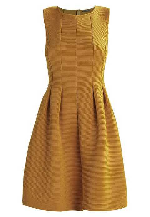 Kiomi Structured Ribbed Flare Dress Mustard Yellow Size LF079 GG 03