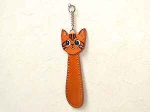 American shorthair Cat Shoehorn Genuine 3D Leather Item *VANCA* japan #26087
