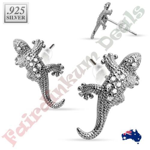 Pair of .925 Sterling Silver Multi Paved Gem Lizard Stud Earrings
