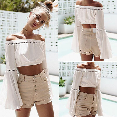Summer Women Bohemian Sexy Chiffon Blouse Casual Off Shoulder T-shirts Crop Tops