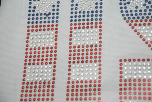 "10.5/""w X 7.5/"" h USA red//white//blue LETTERS RHINESTONE iron-on HEAT TRANSFER"