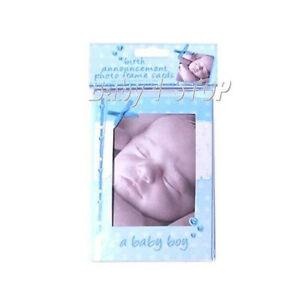 Baby-Boys-Birth-Announcement-Photo-Frame-Cards-10-pack-Envelopes-Keepsake-NEW