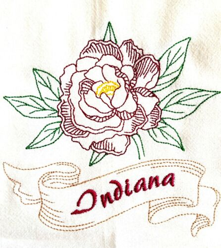 STATE FLOWER-INDIANA-PEONY MACHINE EMBROIDERED FLOUR SACK DISH TOWEL