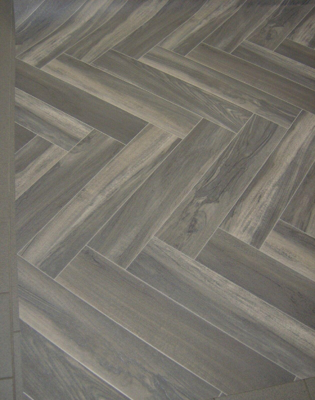 PVC Bodenbelag 130x400 Fischgrätparkett Grau Beige günstig online, mehr im Shop