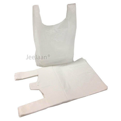 "100 x WHITE PLASTIC VEST CARRIER BAGS 11x17x21/"" 14mu *SPECIAL OFFER*"
