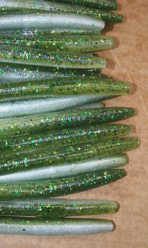 "4/"" Stick Senko Style Baby Bass w//Green Flake 50 count bag Bulk Plastic Worm"