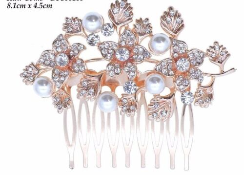 Beautiful Vintage Style Crystal /& Pearls Rose Gold Bridal Hair Comb.